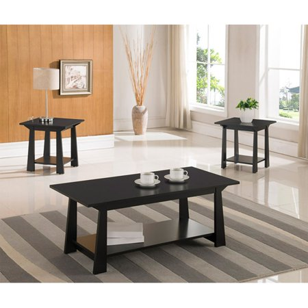 4 Piece Occasional Table - K&B Furniture Black Wood 3 Piece Occasional Table Set
