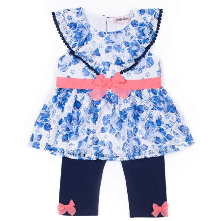 Short Sleeve Pom Pom Trim Lace Top & Capri, 2pc Outfit Set (Baby Girls & Toddler - Pom Pom Girl Dress Up