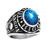 Personalized Men's Oval Class Ring available in Valadium Metals, Silver Plus and Yellow and White Gold