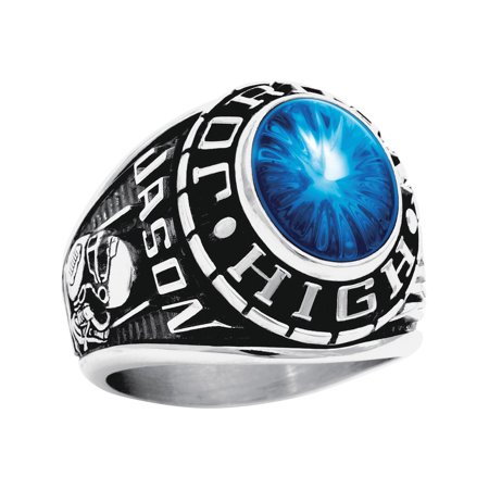 Personalized Men's Oval Class Ring available in Valadium Metals, Silver Plus and Yellow and White Gold - Mens Class Rings