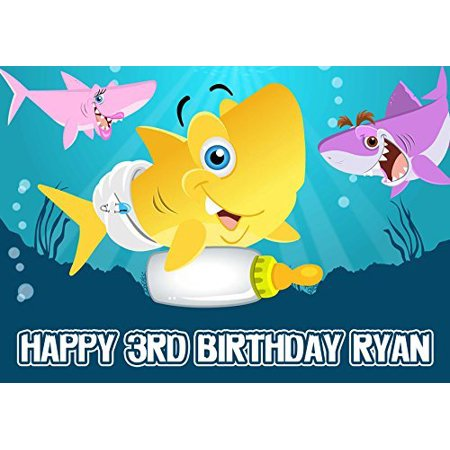 BABY SHARK Edible Cake Topper Personalized Birthday 1/4 Sheet Decoration Custom Sheet Party Birthday Sugar Frosting Transfer Fondant Image for cake