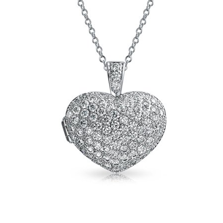 Large Pave CZ Puff Heart Shape Aromatherapy Essential Oil Perfume Diffuser Locket Pendant Necklace For Women For Teen - image 4 of 4