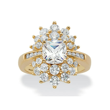 Cushion-Cut Cubic Zirconia Floral Cluster Ring 3.24 TCW in 14k Yellow Gold over Sterling Silver ()