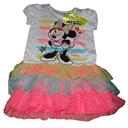 [P] Disney Youth Girls' Minnie Mouse Dress with Tiered Ruffled Flounce SZ7 (Minnie Mouse Fancy Dress For Adults)
