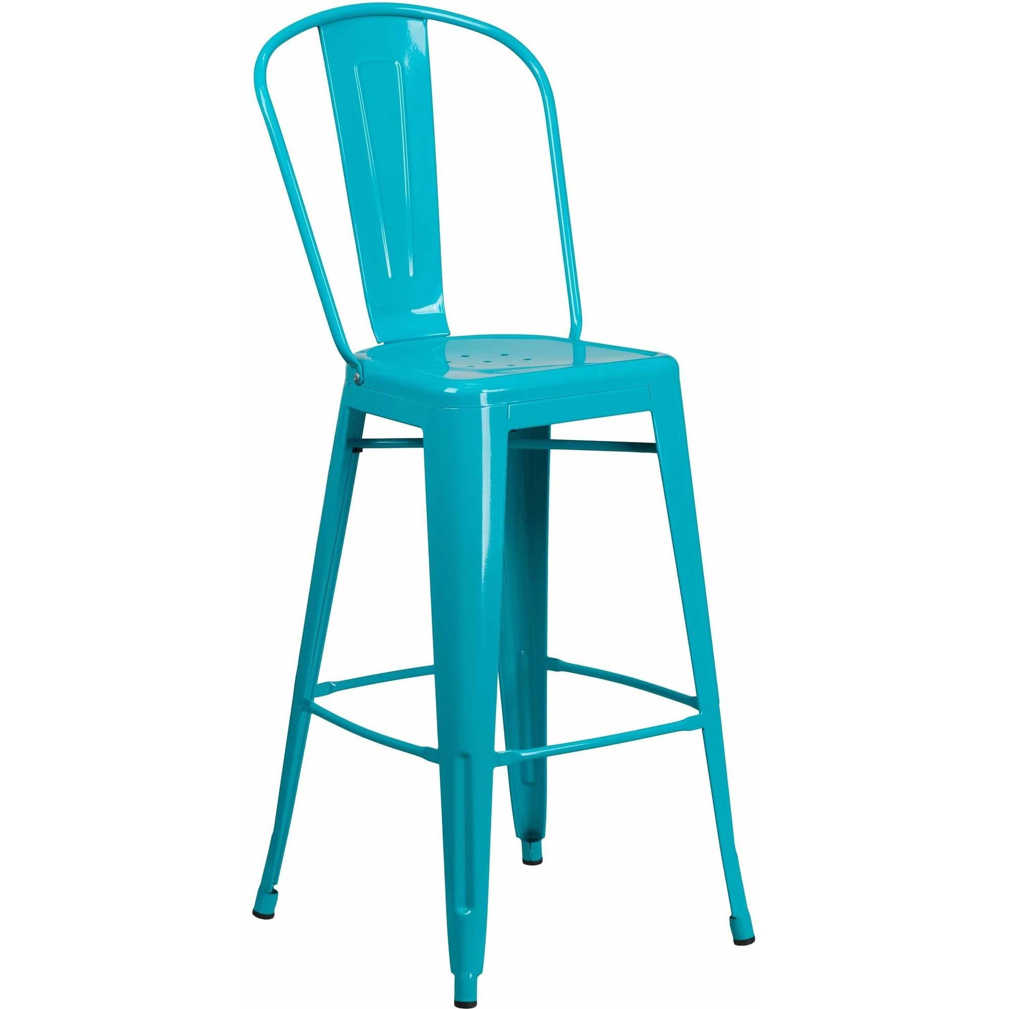 Flash Furniture 30'' High Metal Indoor-Outdoor Counter Height Stool with Back, Multiple Colors