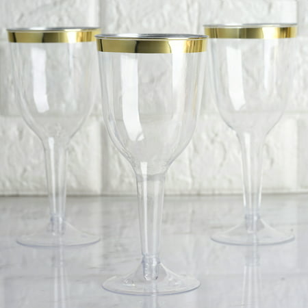BalsaCircle 12 pcs 6 oz Clear with Gold Rim Plastic Champagne Glasses - Disposable Wedding Party Catering (Clear Plastic Frame Glasses)