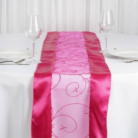 Efavormart Organza Embroidered Premium Table Top Runner For Weddings Birthday Party Banquets Decor Fit Rectangle and Round Table (Yellow Chevron Table Runner)