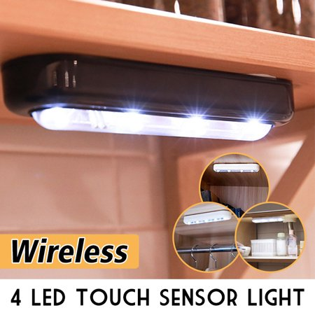 [Touch Sensor] 4 LED Wireless Night Light Closet Cabinet Lamp, Battery Powered for Household Hotel ()