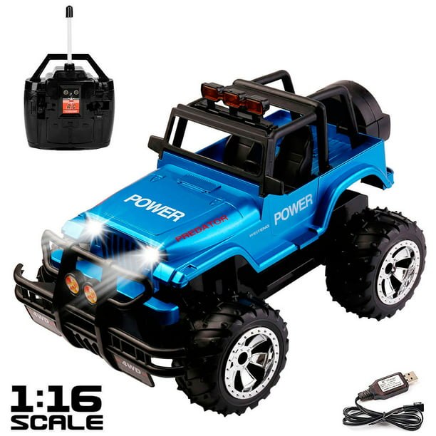 1 16 Scale High Speed Remote Control Truck Vehicle For Kids Rc Cars With Lights And Sounds Rechargeable Walmart Com Walmart Com
