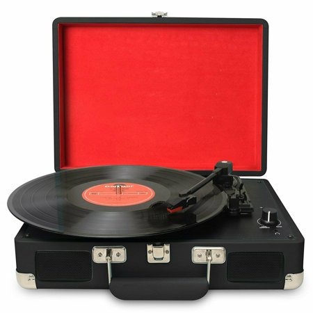 DIGITNOW Turntable record player 3speeds with Built-in Stereo Speakers, Supports USB / RCA Output / Headphone Jack / MP3 / Mobile Phones Music Playback,Suitcase design(Black) (Superhero Record Player)
