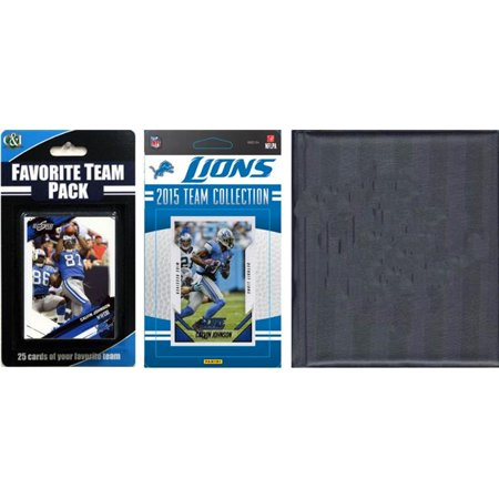 C&I Collectables NFL Detroit Lions Licensed 2015 Score Team Set and Favorite Player Trading Card Pack Plus Storage Album