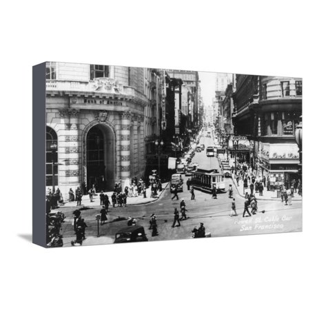 San Francisco, California - Powell Street Cable Cars Stretched Canvas Print Wall Art By Lantern