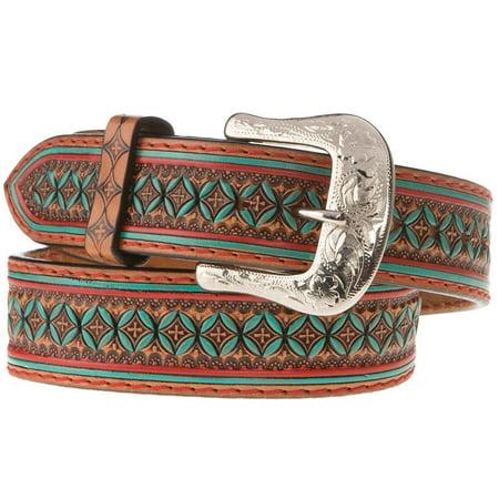 Western Fashion Accessories Mens  Brown Belt With Turquoise Design Western Fashion Accessories  Mens  Brown  Turquoise Desgin  Belt  IB1061