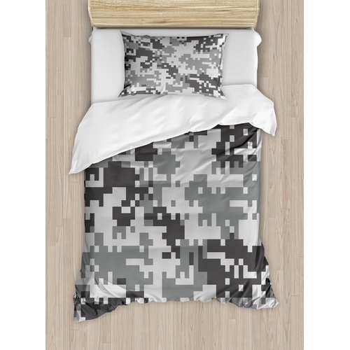 Ambesonne Camo Digital Pixel Effect Modern Design Conceptual Commando Inspired Duvet Cover Set