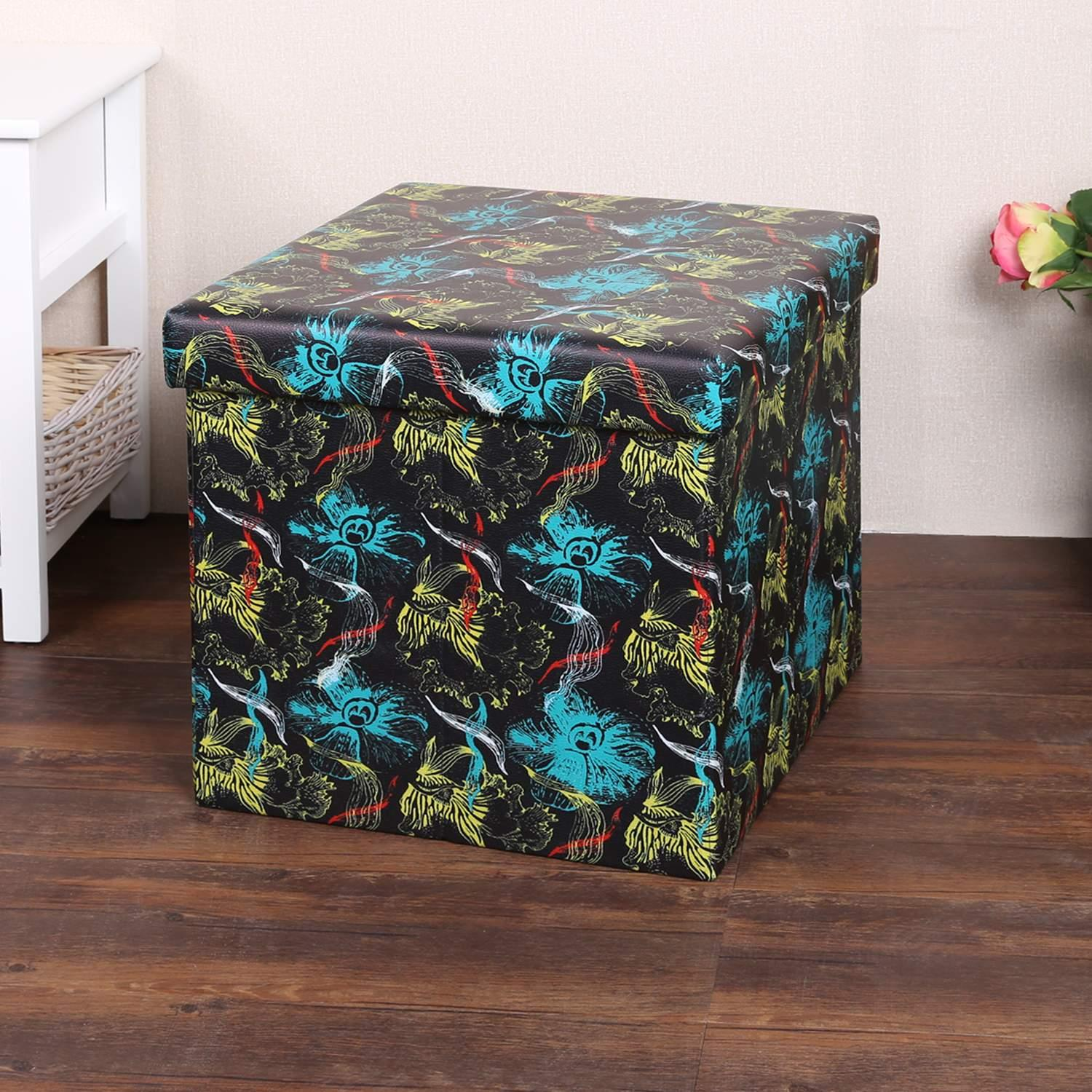 Foldable Seat Foot Rest Stool Seat Storage Ottoman Faux Leather Collapsible ECBY