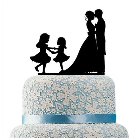 Buythrow Groom and Bride Together with Two Girls Engagement, Anniverary, Bridal shower Silhouette with Script Mr & Mrs Party Decoration Wedding Cake
