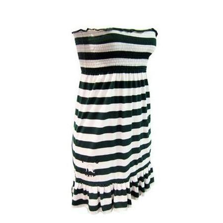 Michigan State University Striped Game Day Strapless Dress