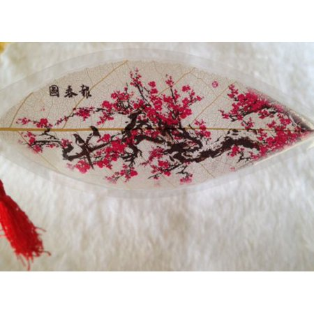 "Artistic ""Red Plum Blossoms"" 100% Real Leaf Veins Bookmark The Best Gift"