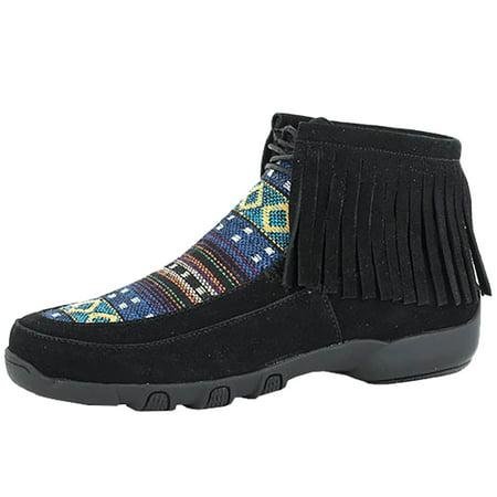 Roper Footwear Womens  Santa Fe Fringe Suede Chukka