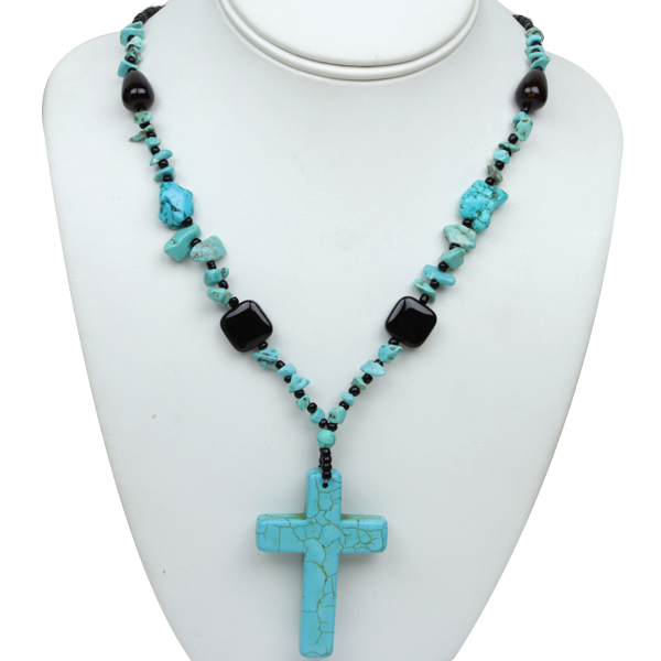 """18"""" Green Simulated Turquoise Necklace With 2.5X1.5 Inch Cross Pendant"""