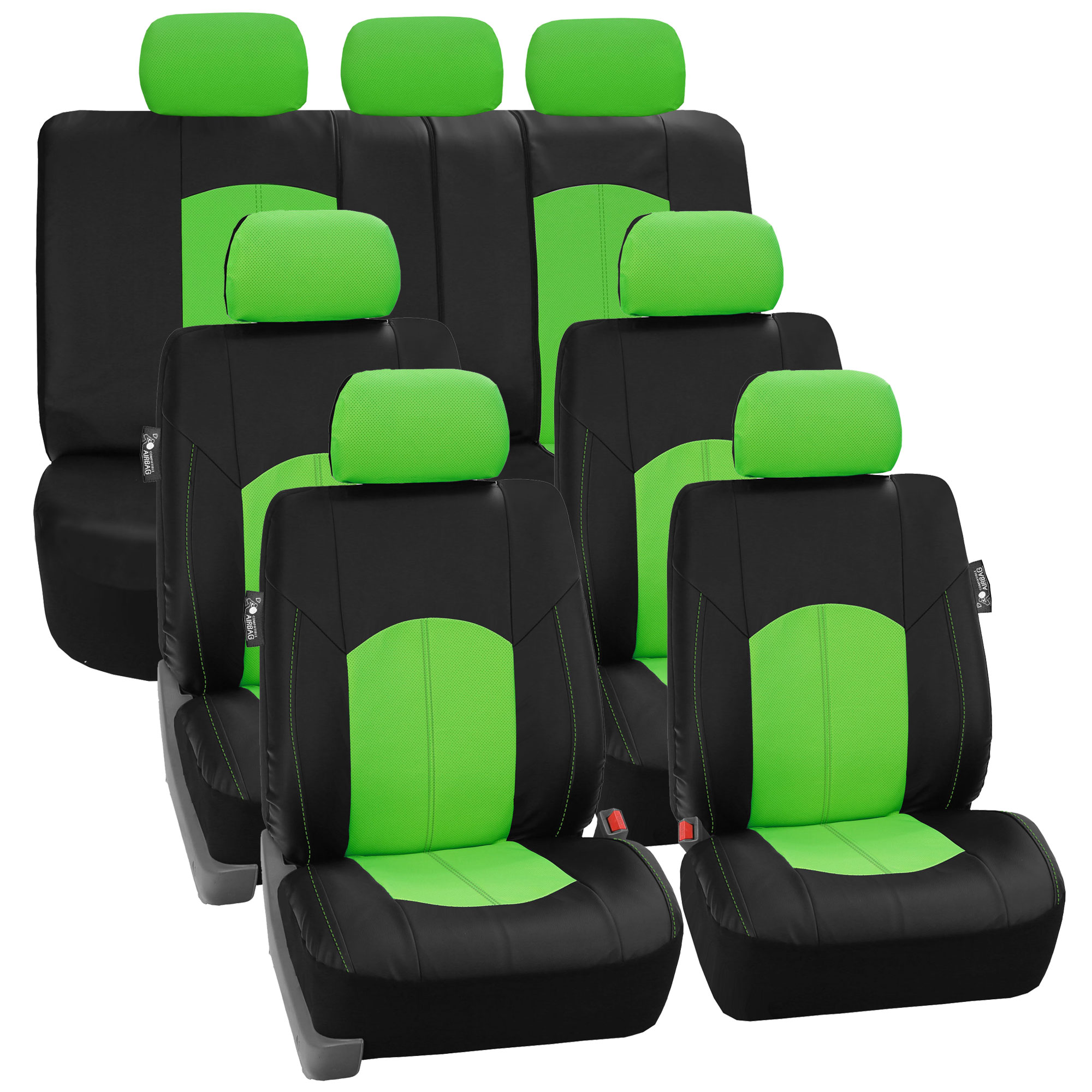 FH Group, Perforated Leather 3 Row Full Set Seat Covers for 7 Seaters SUV Van, 8 Colors