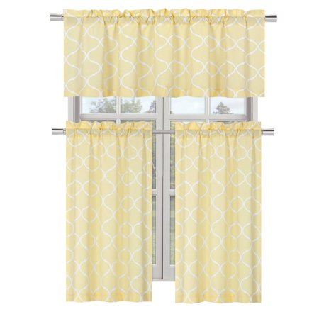 - Regal Home Collections Shabby Chic Rod Pocket Trellis Lattice Window Valance - Yellow