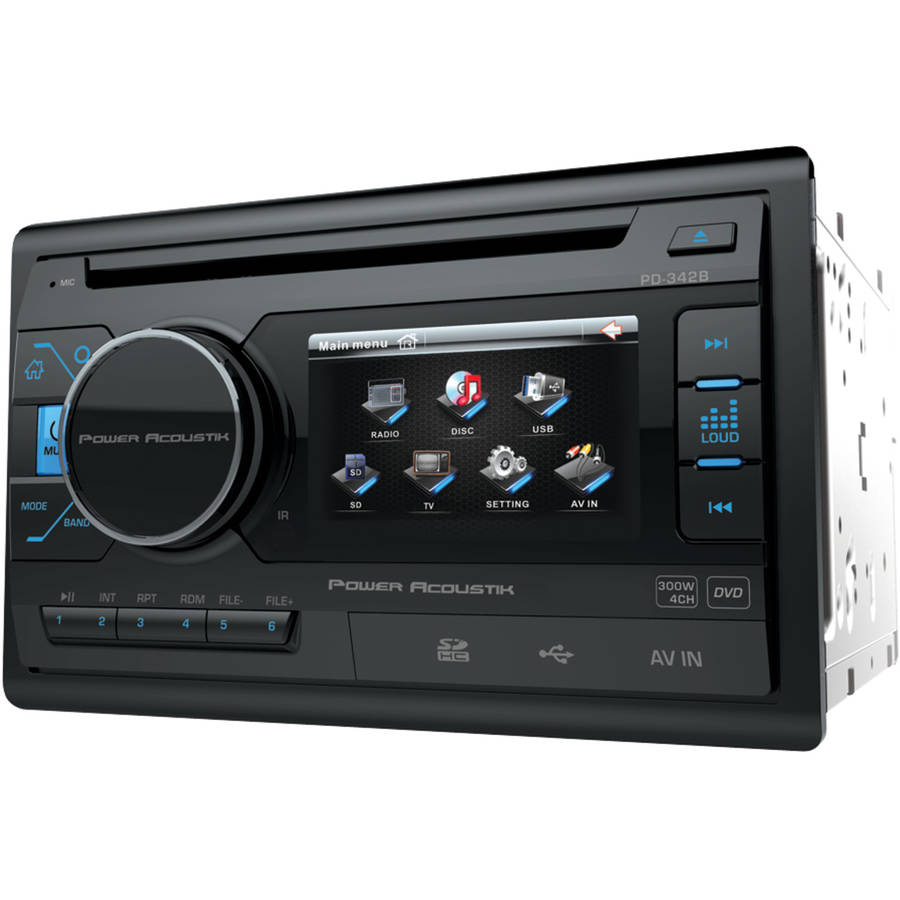 "Power Acoustik PD 342 3.4"" Double-DIN In-Dash LCD Touchscreen DVD Receiver without Bluetooth"