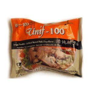 Unif-100 Instant Noodles -Artificial Stewed Pork Chop Flavor 3.63oz/103g z (Pack of 5)