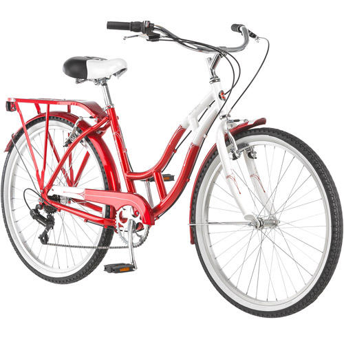 "Schwinn Point Beach 26"" Ladies Cruiser Bike, Red and White"
