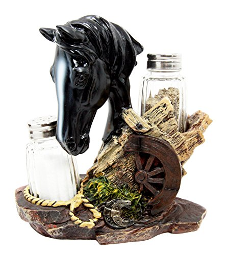 "Atlantic Collectibles Western Decor Stallion Horse By Wagon Wheel Salt Pepper Shakers Holder Figurine Set 6.25""H (Black)"