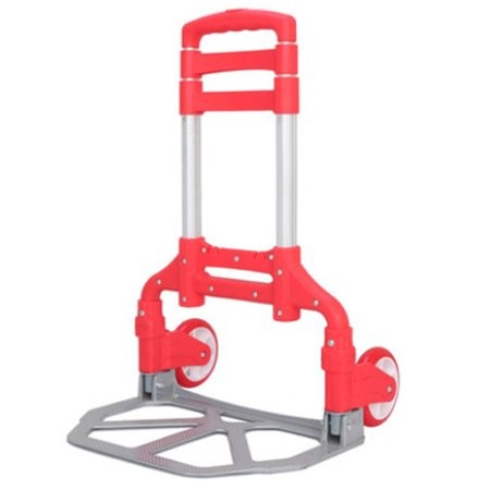 Folding Luggage Dolly - Compact Luggage Cart 170 lbs Aluminium Folding Dolly Push Hand Truck Collapsible Travel Shopping Supermarket Trolley,Red