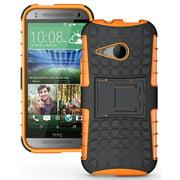 NEW NAKEDCELLPHONE NEON ORANGE GRENADE GRIP TPU SKIN HARD CASE COVER STAND FOR HTC ONE MINI-2 PHONE (aka M8 Mini or Remix)