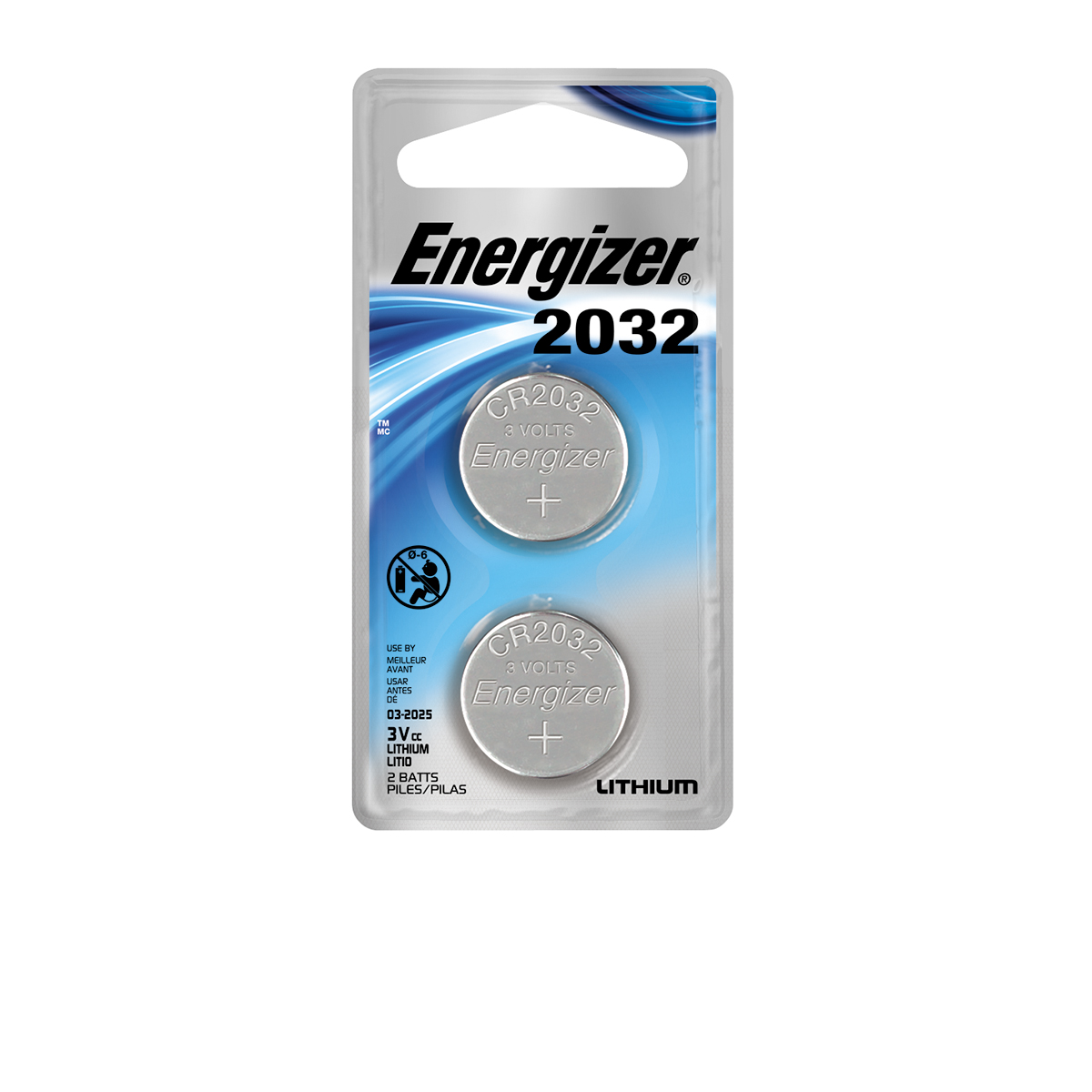 Energizer Lithium 2032 Coin Battery, 2 Count