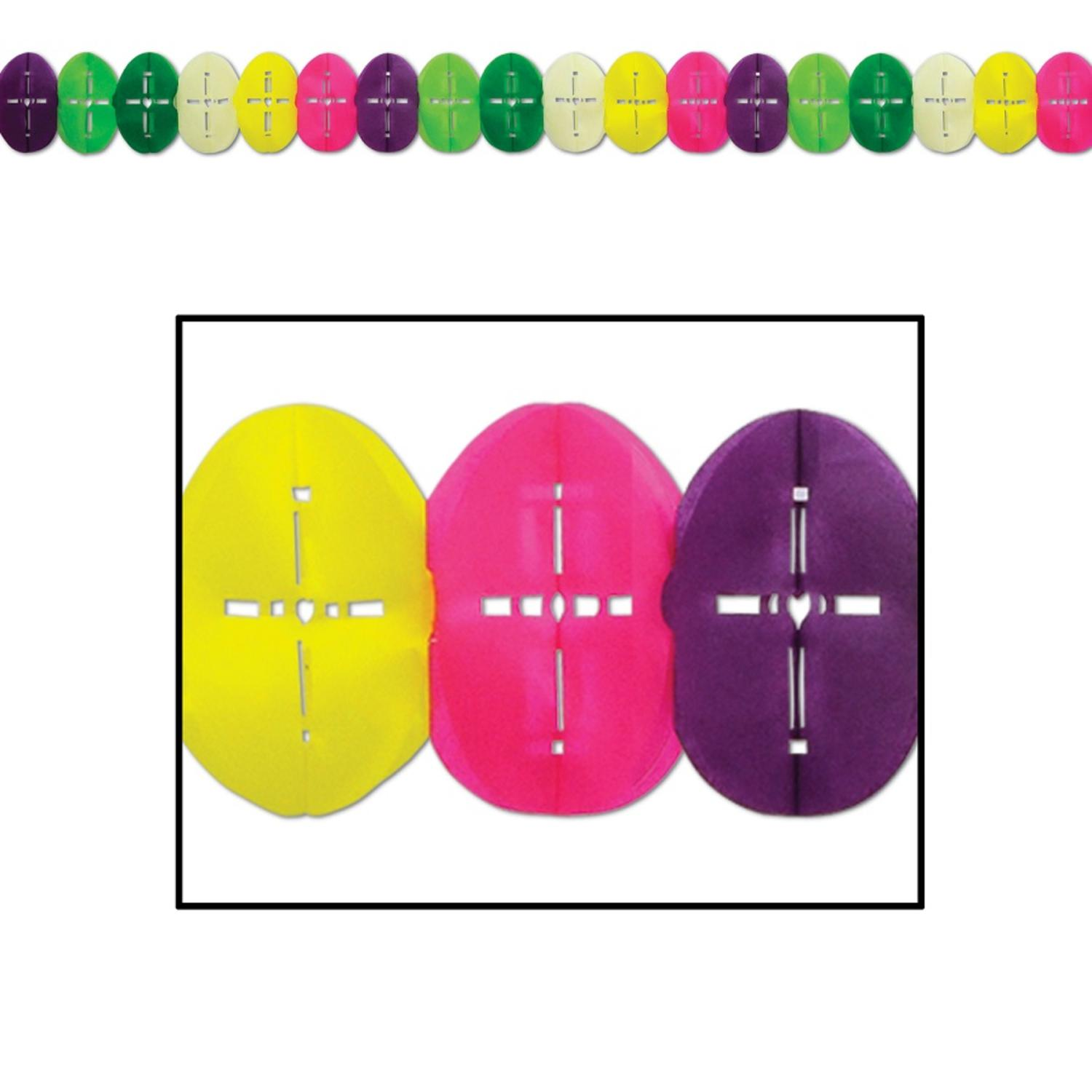 Pack of 12 Colorful Easter Egg Garland with Cross Accents Party Decorations 12