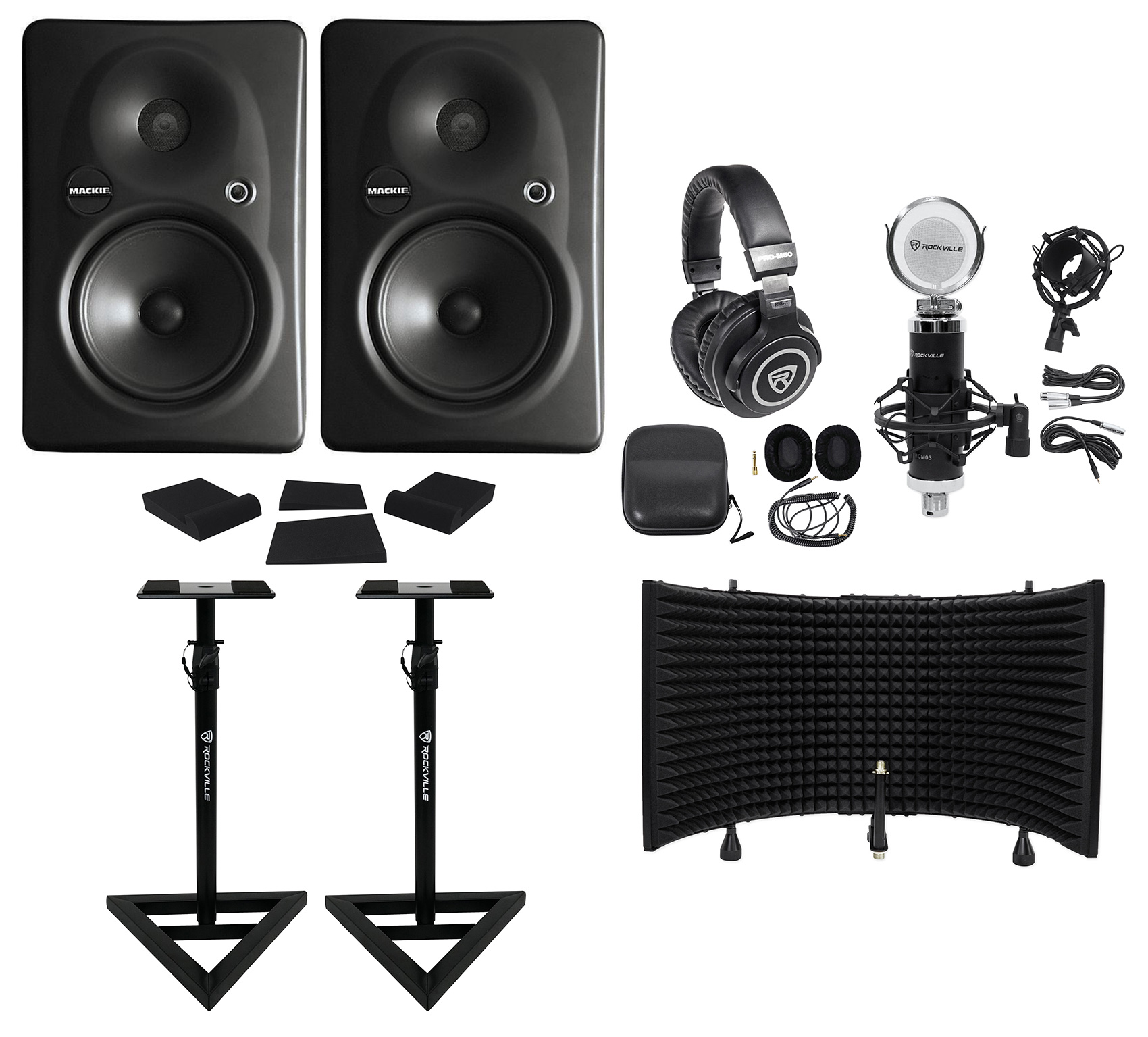 (2) Mackie HR624 MKII Powered Studio Monitors+Stands+Headphones+Mic+Shield+Pads by Mackie