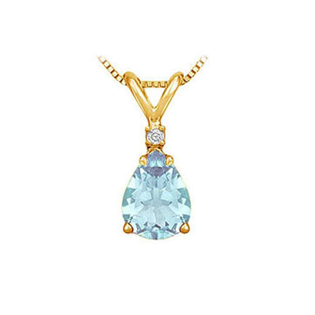 Fine Jewelry Vault SCPDVPR86AQY Diamond and Aquamarine Solitaire Pendant - 14K Yellow Gold - 1. 00 CT TGW