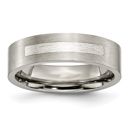 Titanium Flat 6mm 925 Sterling Silver Inlay Brushed Wedding Ring Band Size 12.00 Precious Metal Ladies Brushed Metal