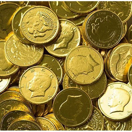 Solid Milk Chocolate Large Kennedy Gold Coins - 2 Full Pounds Bulk Wholesale (Candy Gold Coins)
