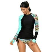 Women Long Sleeve UV Sun UPF 50+ RashGuard Top Two Piece Surfing Diving Swimsuit - S US(4-6)