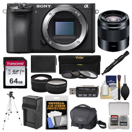 Sony Alpha A6500 4K Wi-Fi Digital Camera Body with 50mm f/1.8 Lens + 64GB Card + Case + Battery & Charger + Tripod + Tele/Wide Lens Kit ()