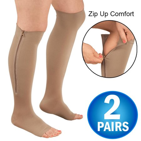 2 Zipper Pressure Compression Socks Support Stockings Leg - Open Toe Knee High - 20-30mmHg - Helps Circulation, Varicose Veins, Swollen Legs, Zipper - Nude Regular Size (2 Pairs) (Support Stocking)