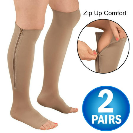 2 Zipper Pressure Compression Socks Support Stockings Leg - Open Toe Knee High - 20-30mmHg - Helps Circulation, Varicose Veins, Swollen Legs, Zipper - Nude Regular Size (2 Pairs)