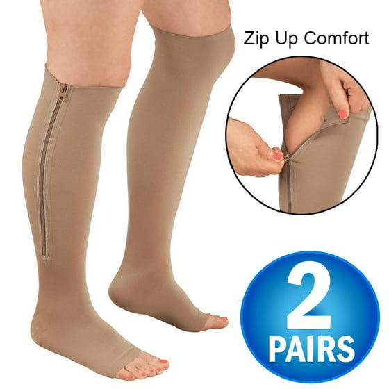 404f86a550d8b 2 Zipper Pressure Compression Socks Support Stockings Leg - Open Toe Knee  High - 20-30mmHg - Helps Circulation, Varicose Veins, Swollen Legs, Zipper  - Nude ...