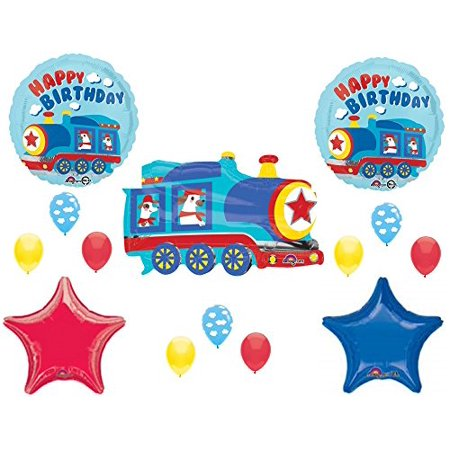 TRAINS Happy Birthday Party Balloons Decoration Supplies 1st 2nd 3rd Dog Engine