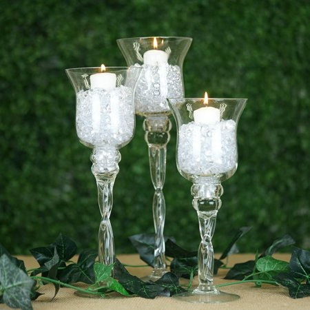 Efavormart Set of 3 Hurricane Long Stem Glass Candle - Long Stem Candle Holders