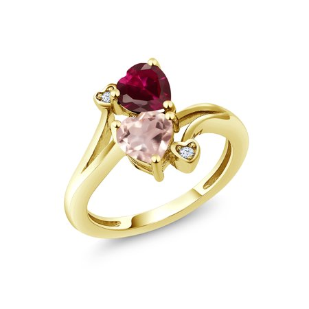 1.69 Ct Red Created Ruby Rose Rose Quartz 18K Yellow Gold Plated Silver Ring