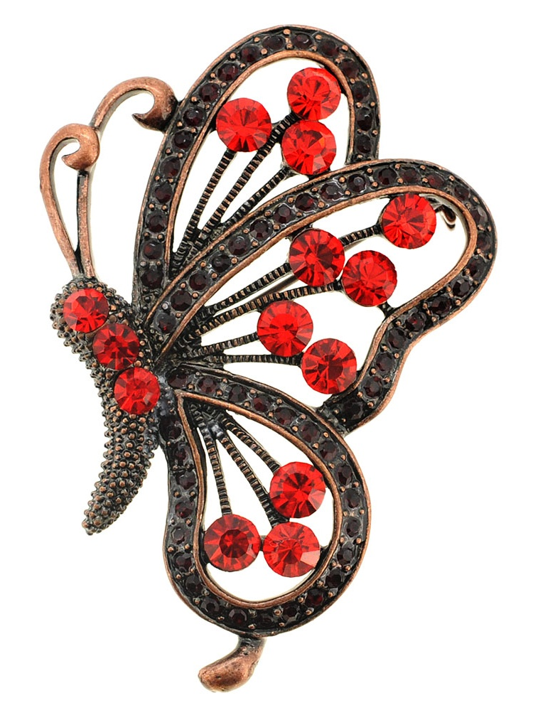 Vintage Style Red Butterfly Crystal Pin Brooch and Pendant by