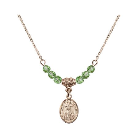 18-Inch Hamilton Gold Plated Necklace with 4mm Green August Birth Month Stone Beads and Saint Andrew Kim Taegon Charm ()