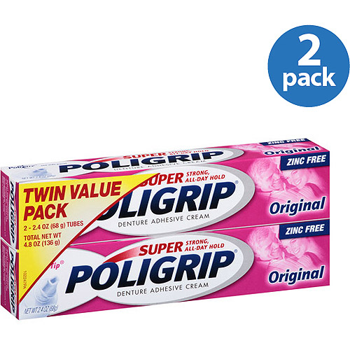 Super Poligrip Original Denture Adhesive Cream, 4.8 oz (Pack of 2)