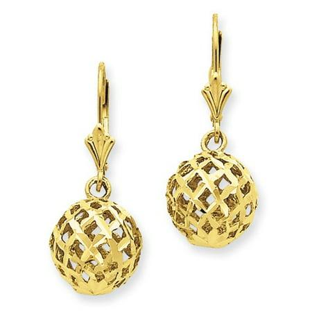 14k Yellow Gold Polished & D/C Mesh Ball Dangle Leverback Earrings